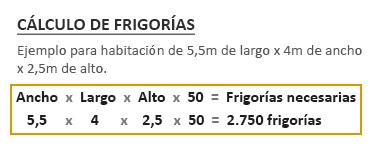 Ejemplo del cálculo de frigorías